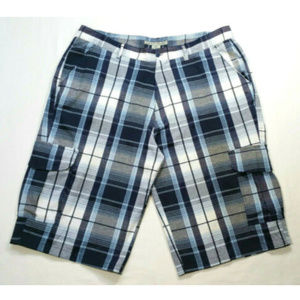 Beyond the Limit Shorts - BEYOND THE LIMIT Plaid Casual Cargo Shorts 2368E2